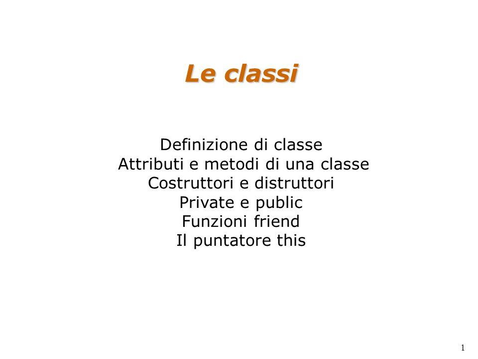 Le classi Definizione di classe Attributi e metodi di una classe Costruttori e distruttori Private e public Funzioni friend Il puntatore this