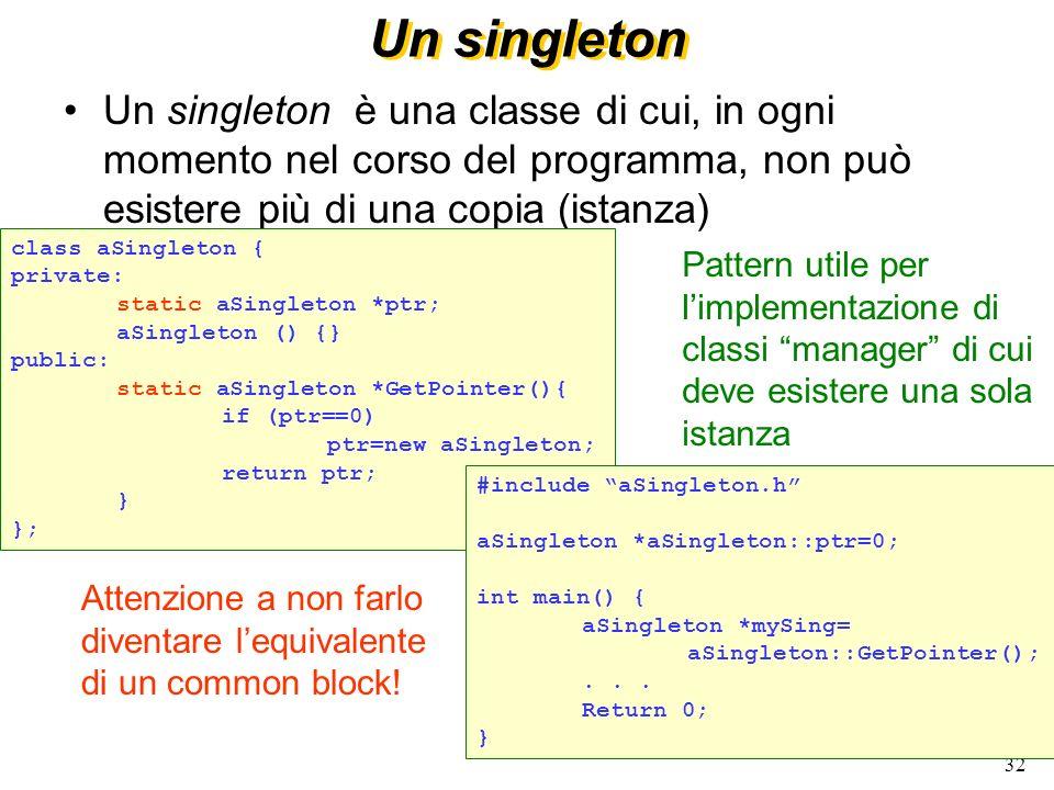 Un singleton Un singleton è una classe di cui, in ogni momento nel corso del programma, non può esistere più di una copia (istanza)