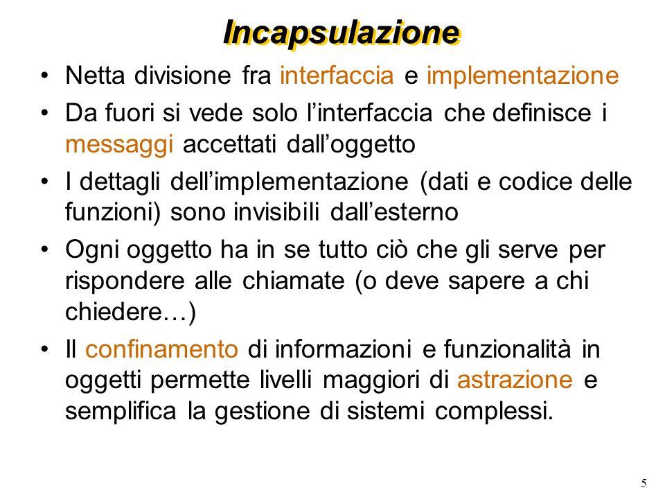 Incapsulazione Netta divisione fra interfaccia e implementazione
