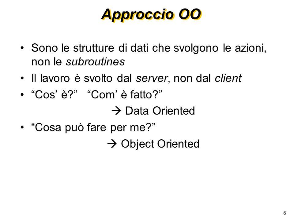 Approccio OO Sono le strutture di dati che svolgono le azioni, non le subroutines. Il lavoro è svolto dal server, non dal client.