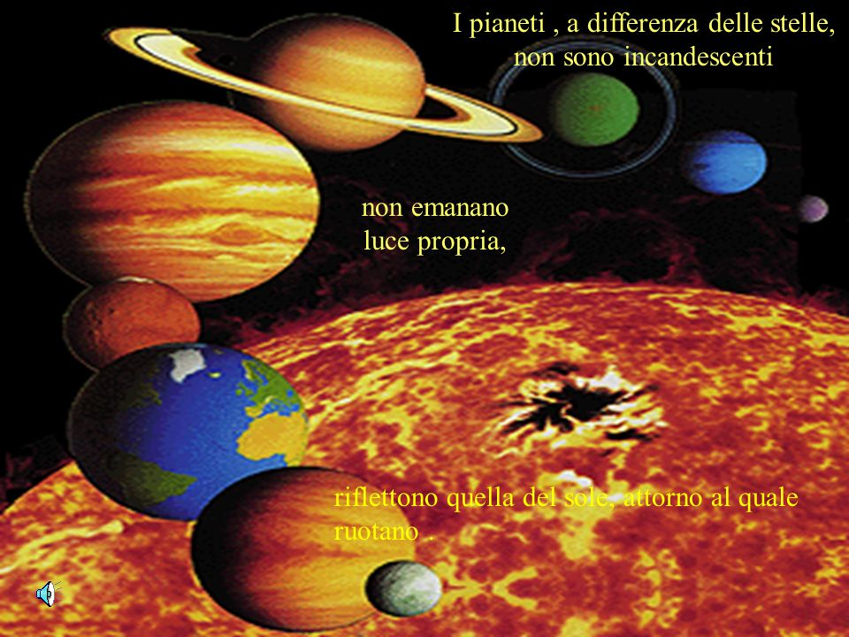 I pianeti , a differenza delle stelle, non sono incandescenti