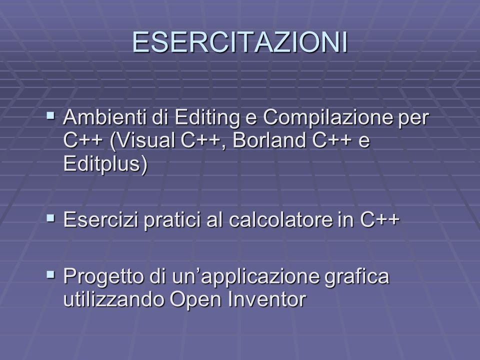 ESERCITAZIONI Ambienti di Editing e Compilazione per C++ (Visual C++, Borland C++ e Editplus) Esercizi pratici al calcolatore in C++