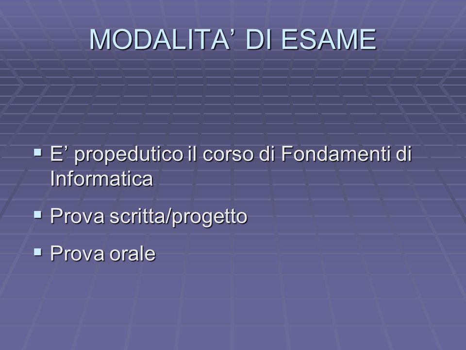 MODALITA' DI ESAME E' propedutico il corso di Fondamenti di Informatica.