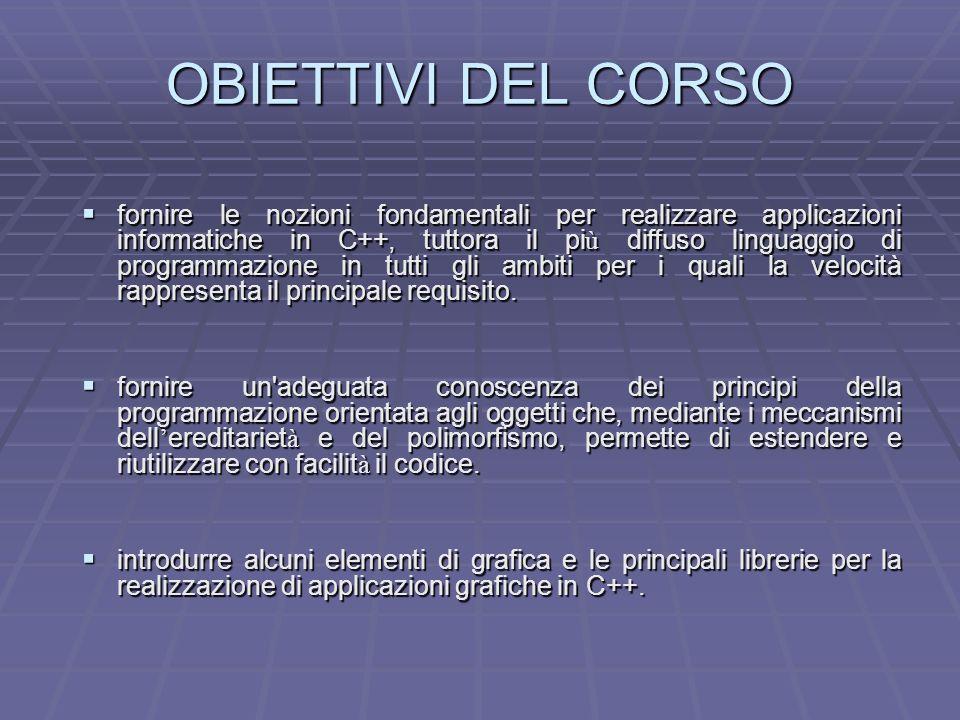 OBIETTIVI DEL CORSO