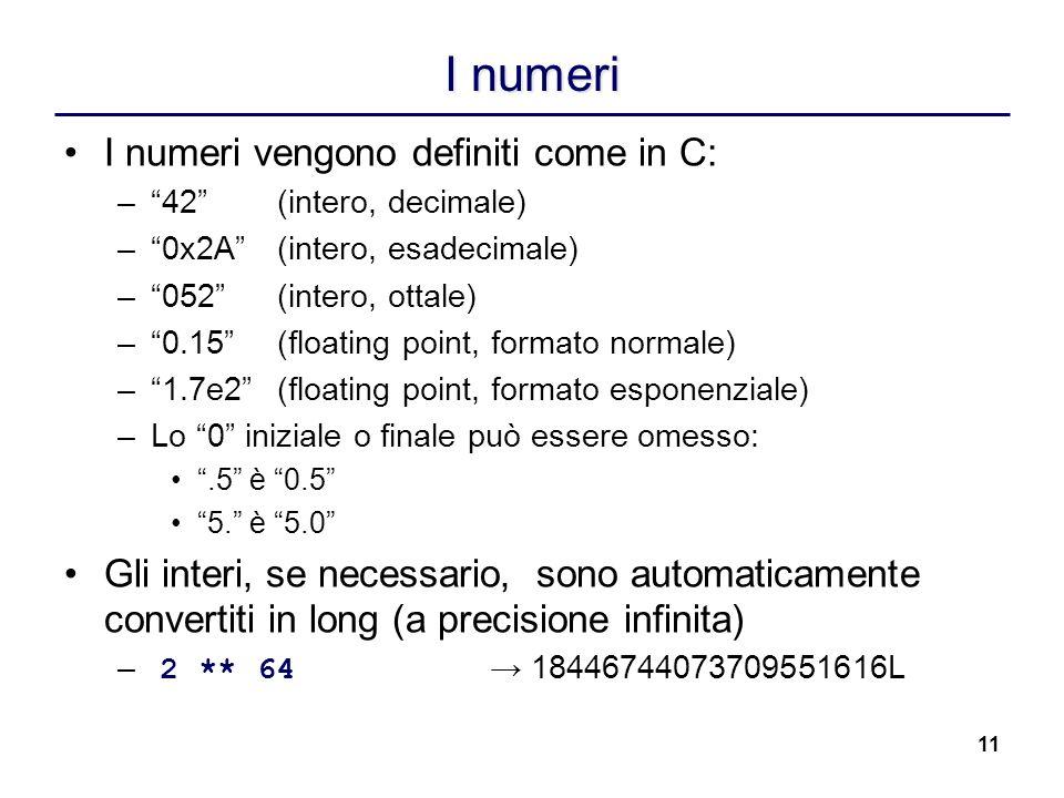 I numeri I numeri vengono definiti come in C: