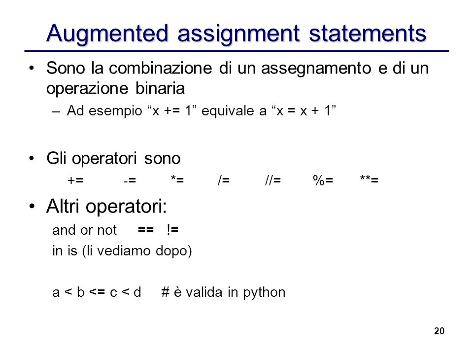 Augmented assignment statements