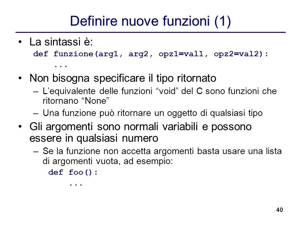 Definire nuove funzioni (1)