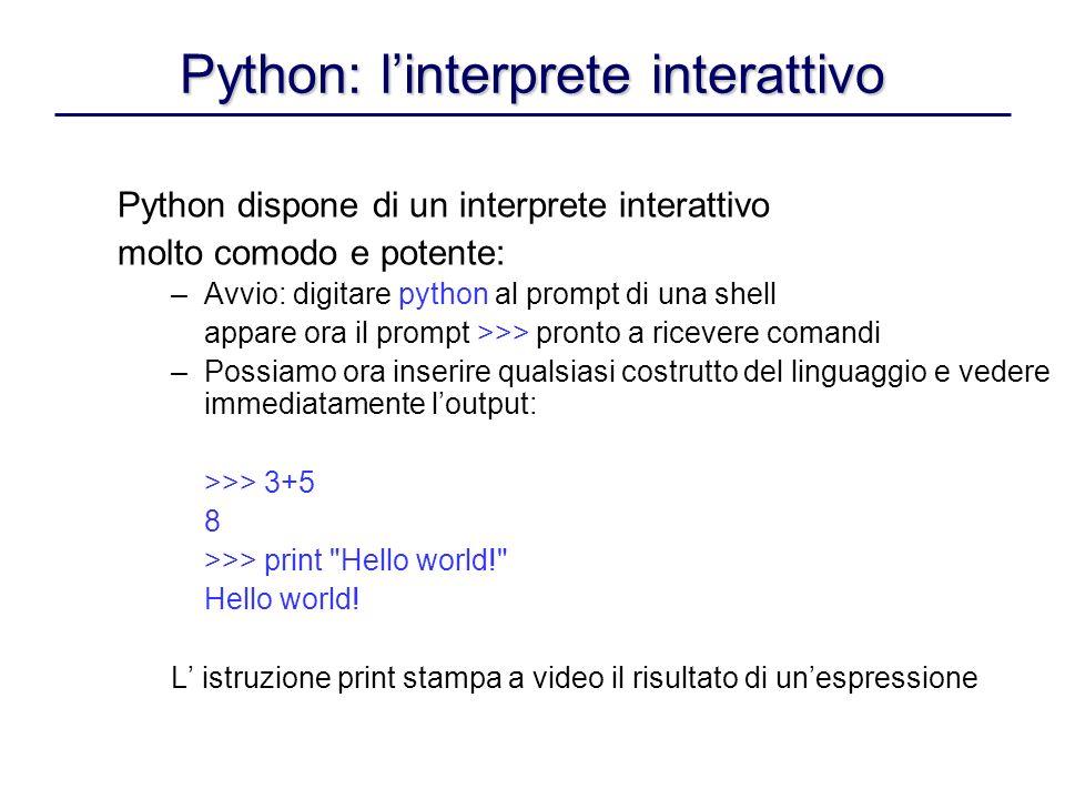 Python: l'interprete interattivo