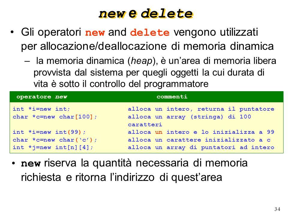 new e delete Gli operatori new and delete vengono utilizzati per allocazione/deallocazione di memoria dinamica.