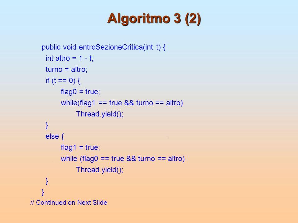 Algoritmo 3 (2) public void entroSezioneCritica(int t) {