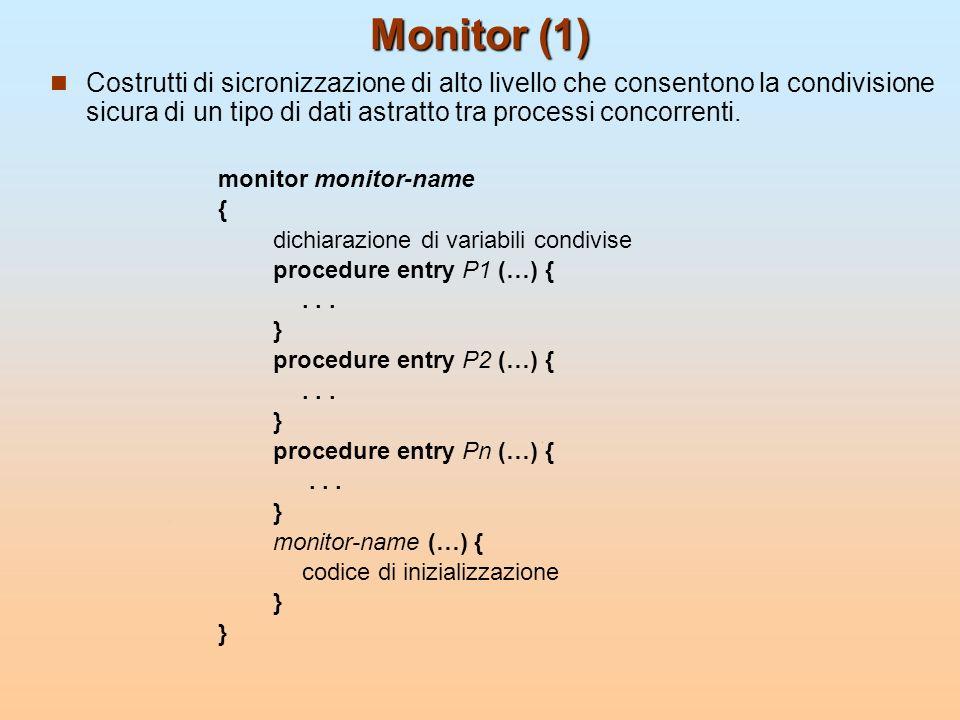 Monitor (1) Costrutti di sicronizzazione di alto livello che consentono la condivisione sicura di un tipo di dati astratto tra processi concorrenti.