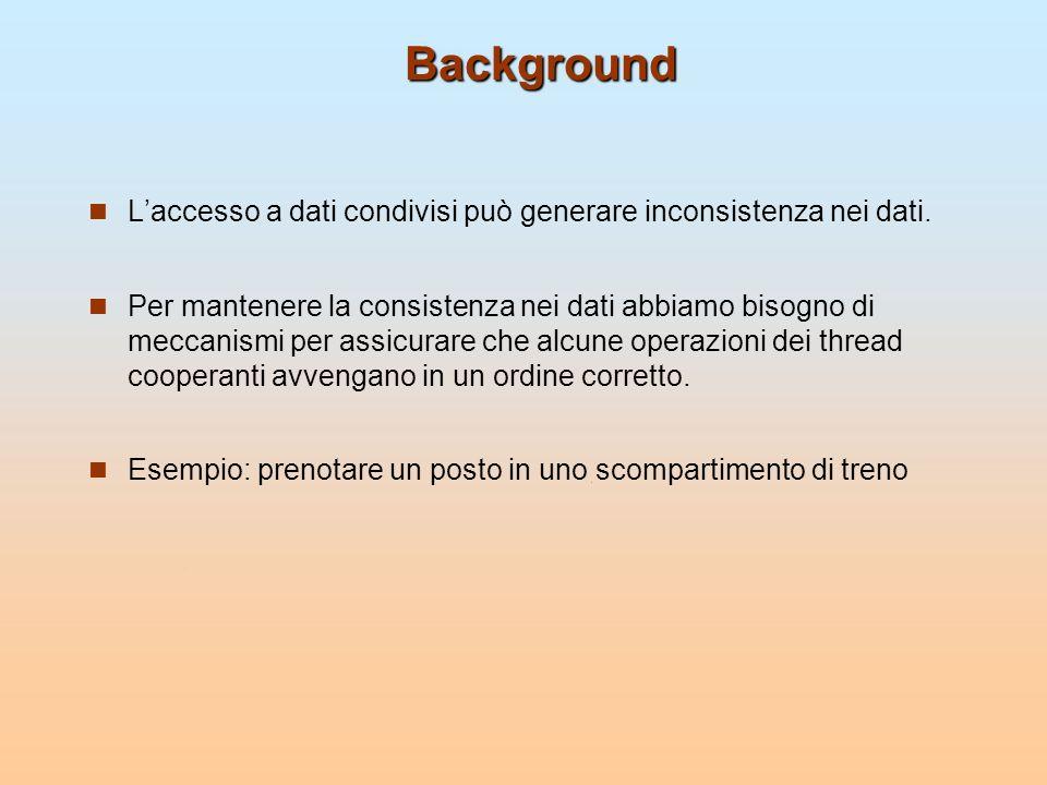 Background L'accesso a dati condivisi può generare inconsistenza nei dati.
