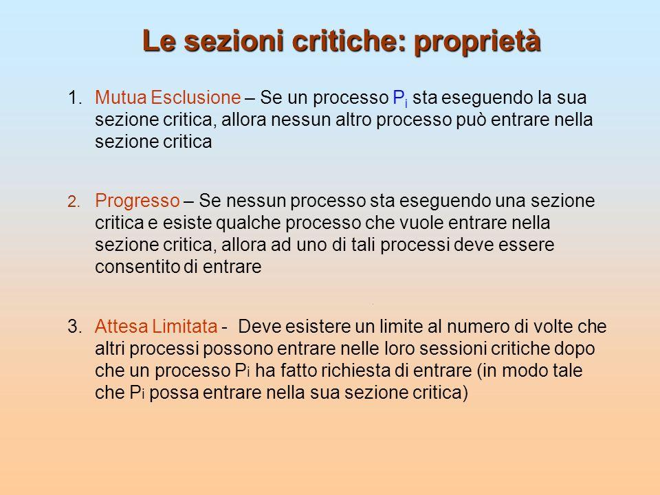 Le sezioni critiche: proprietà