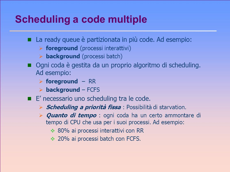 Scheduling a code multiple
