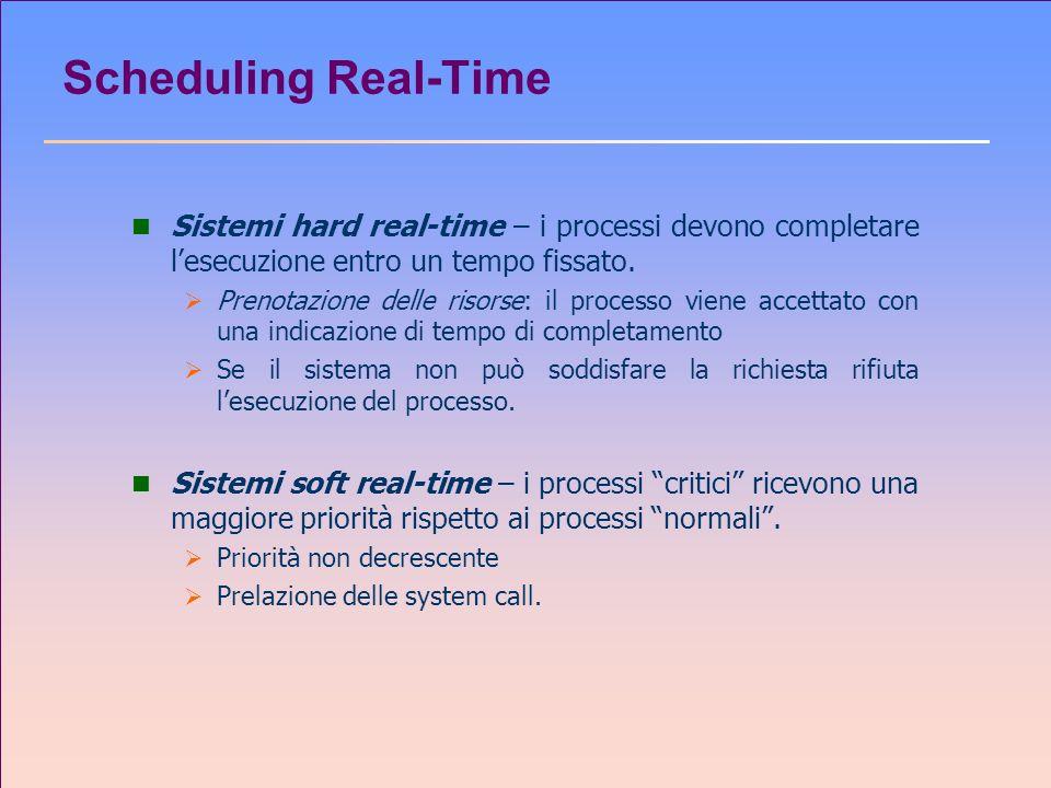 Scheduling Real-Time Sistemi hard real-time – i processi devono completare l'esecuzione entro un tempo fissato.