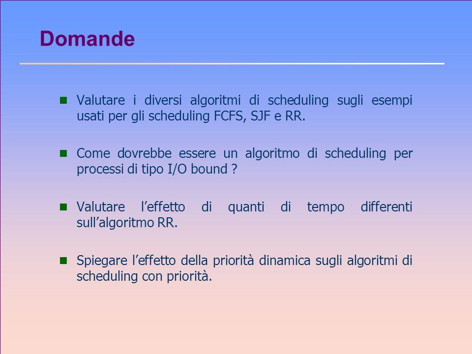 Domande Valutare i diversi algoritmi di scheduling sugli esempi usati per gli scheduling FCFS, SJF e RR.