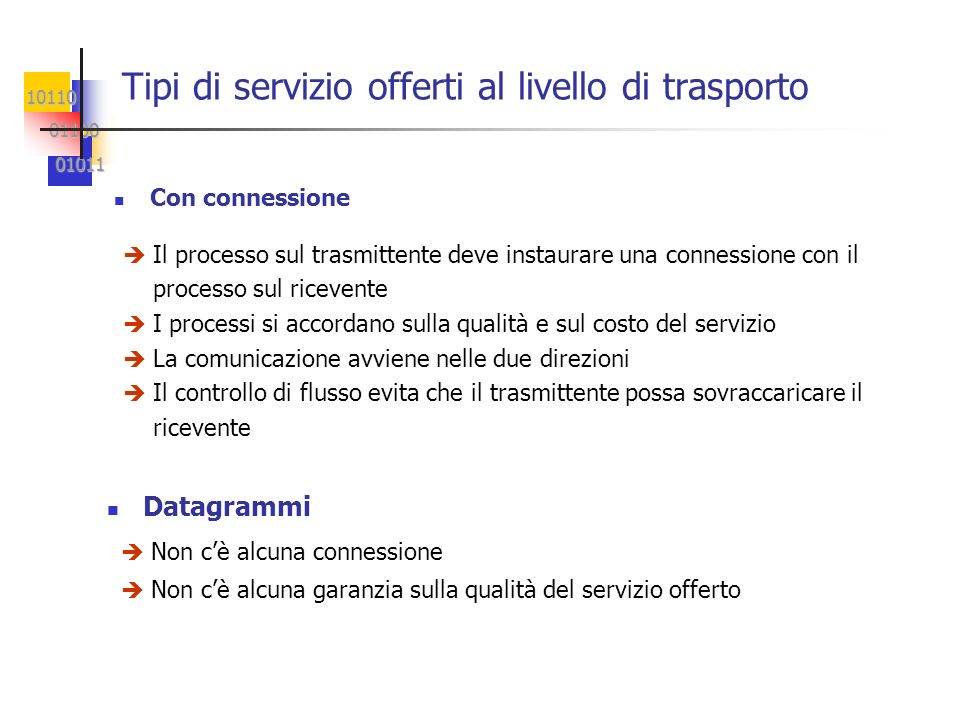 Tipi di servizio offerti al livello di trasporto