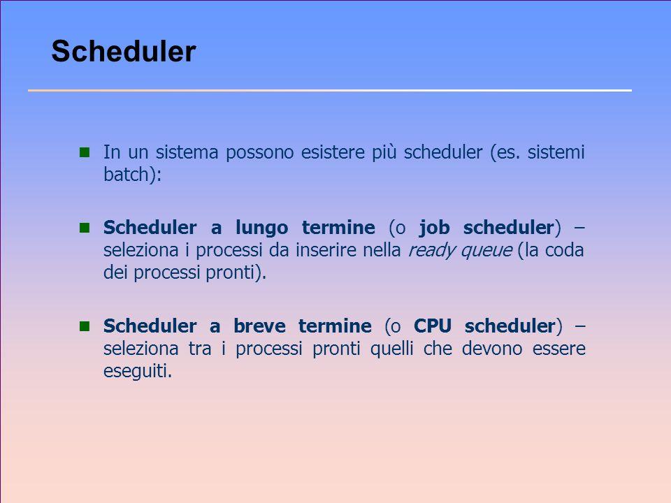 Scheduler In un sistema possono esistere più scheduler (es. sistemi batch):