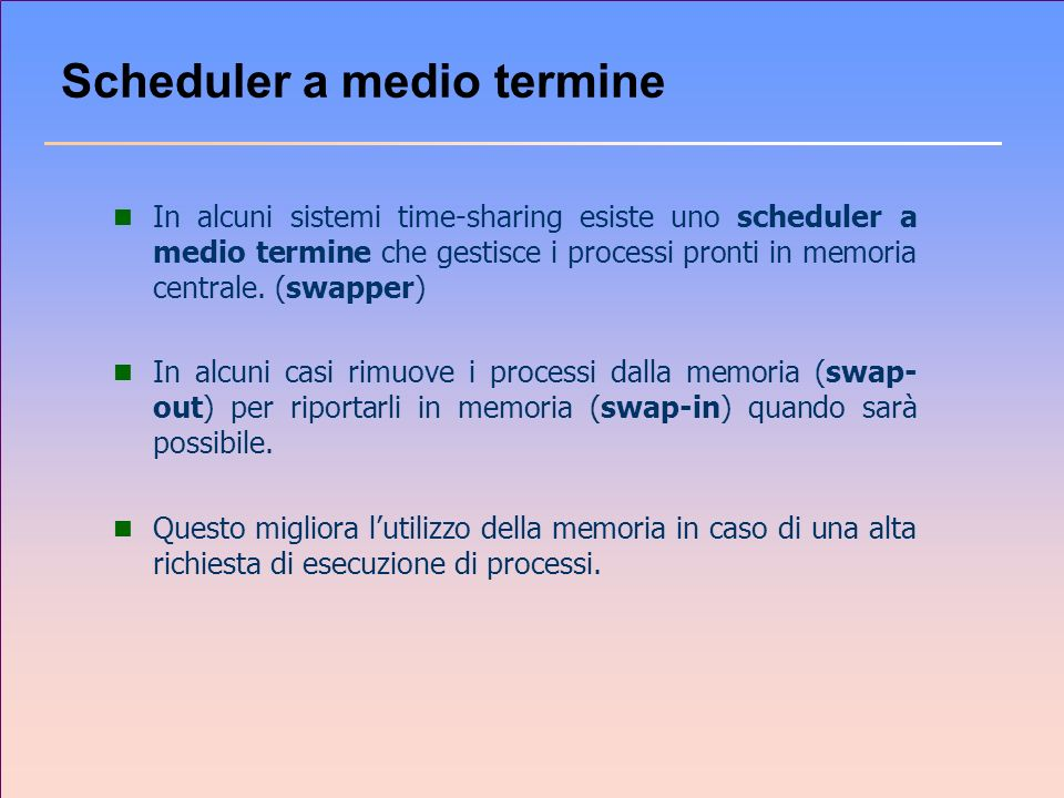 Scheduler a medio termine