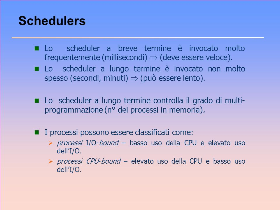 Schedulers Lo scheduler a breve termine è invocato molto frequentemente (millisecondi)  (deve essere veloce).