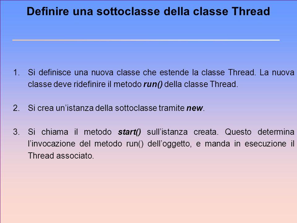 Definire una sottoclasse della classe Thread