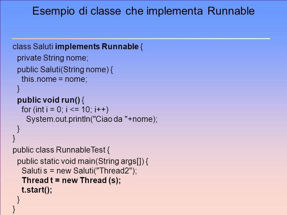 Esempio di classe che implementa Runnable