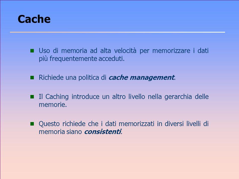 Cache Uso di memoria ad alta velocità per memorizzare i dati più frequentemente acceduti. Richiede una politica di cache management.
