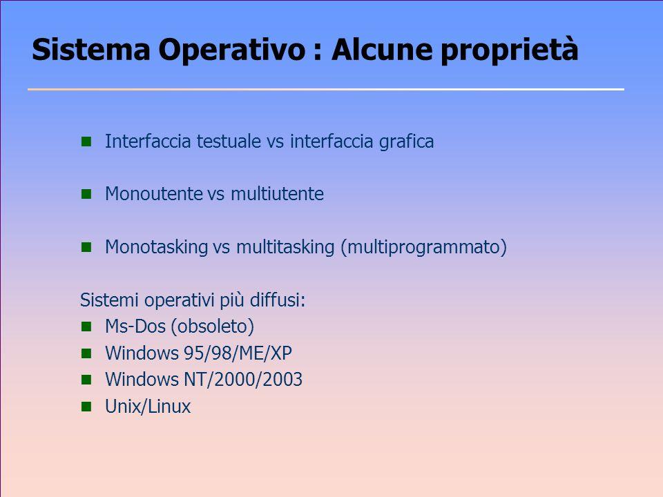 Sistema Operativo : Alcune proprietà