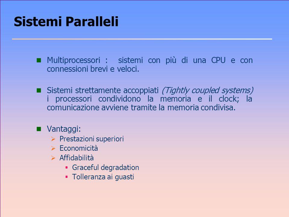 Sistemi Paralleli Multiprocessori : sistemi con più di una CPU e con connessioni brevi e veloci.
