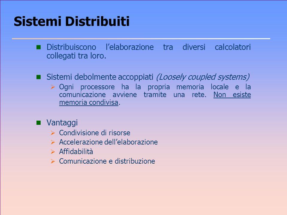 Sistemi Distribuiti Distribuiscono l'elaborazione tra diversi calcolatori collegati tra loro.