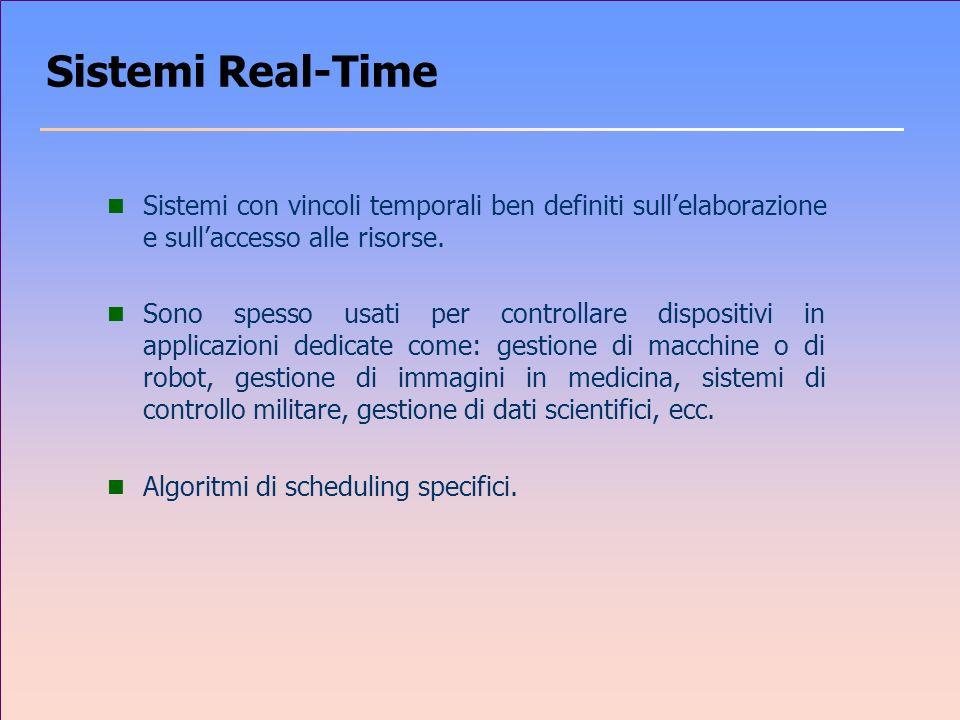 Sistemi Real-Time Sistemi con vincoli temporali ben definiti sull'elaborazione e sull'accesso alle risorse.