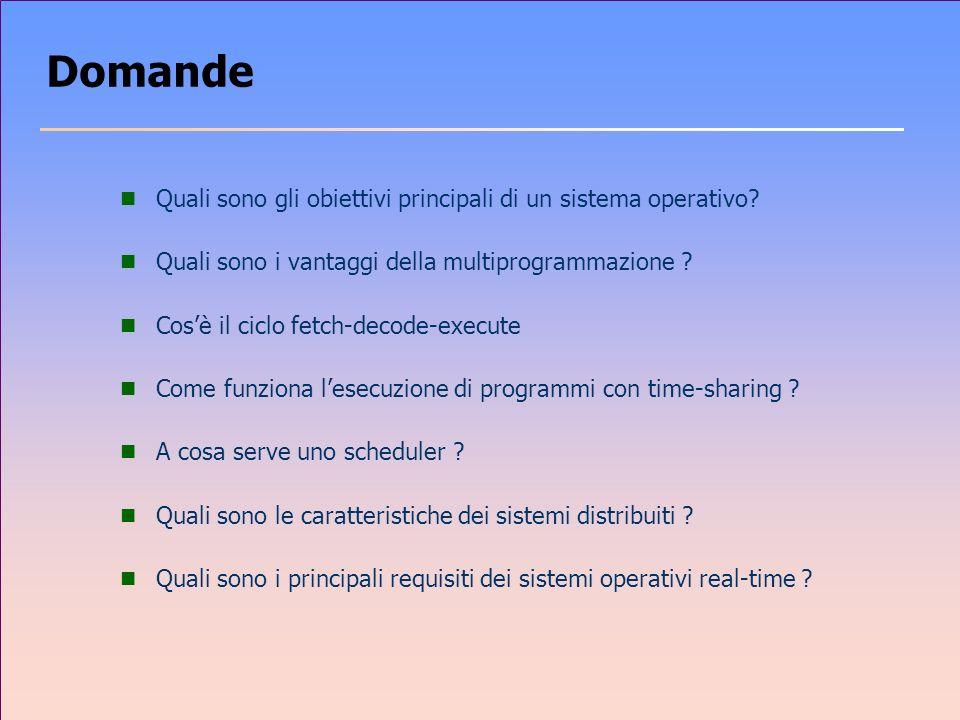 Domande Quali sono gli obiettivi principali di un sistema operativo