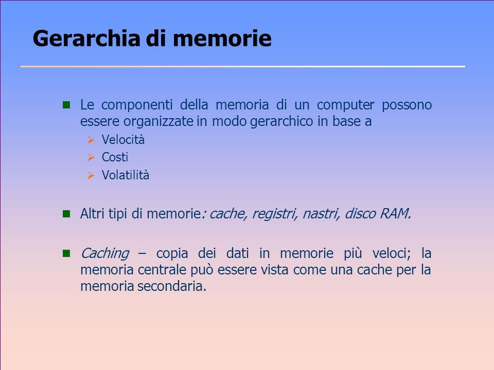 Gerarchia di memorie Le componenti della memoria di un computer possono essere organizzate in modo gerarchico in base a.