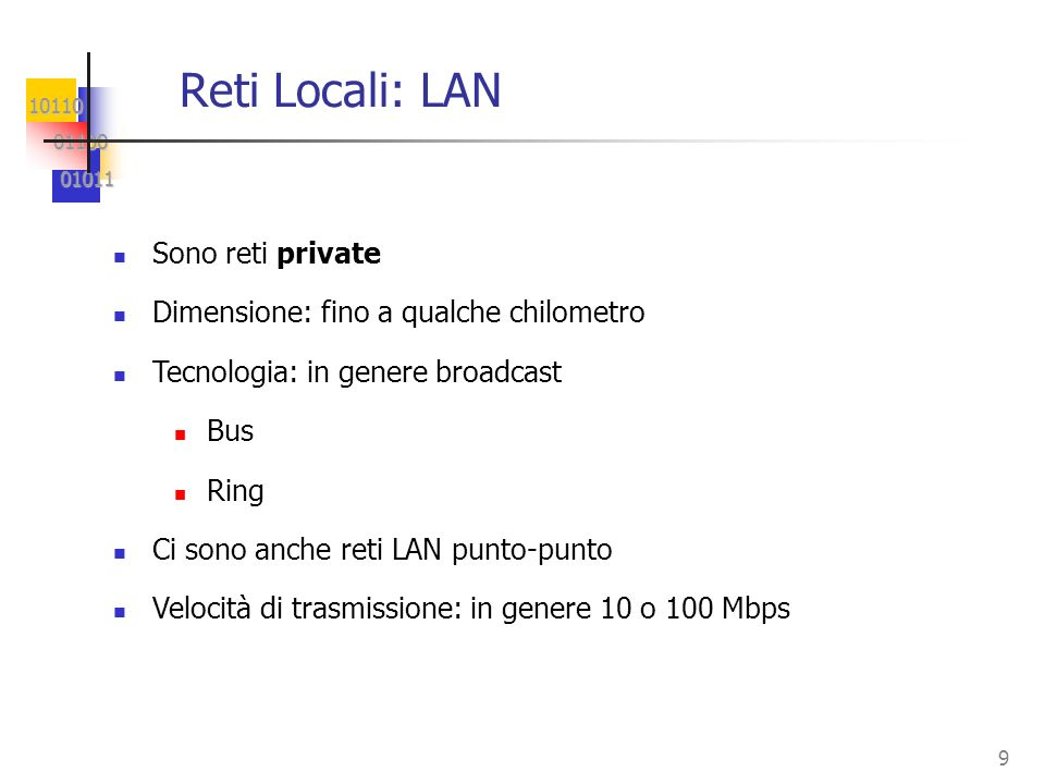 Reti Locali: LAN Sono reti private