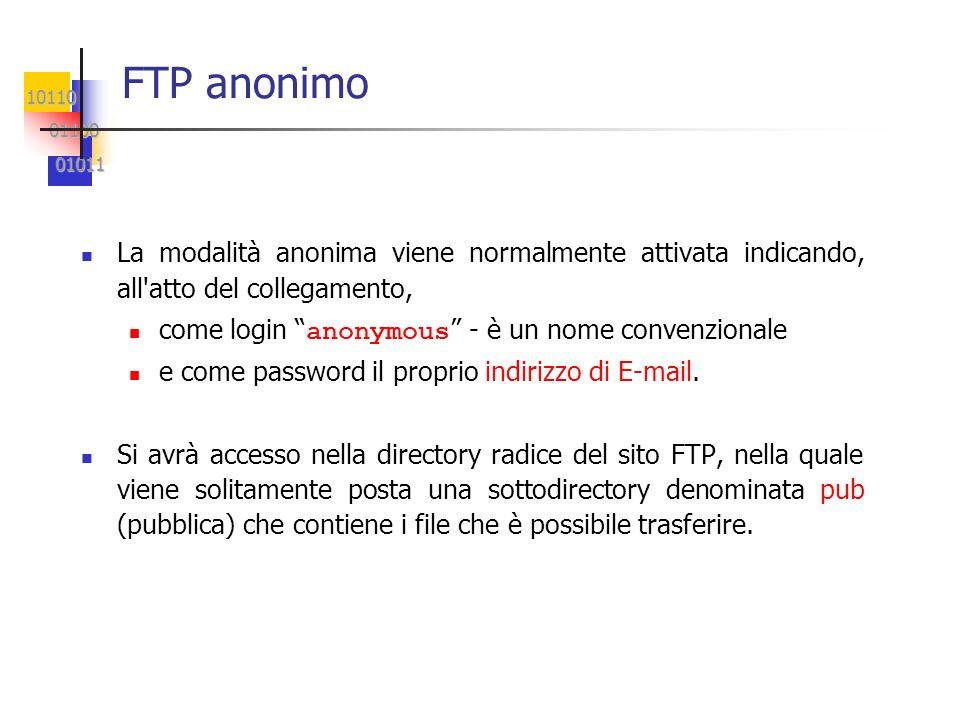 FTP anonimo La modalità anonima viene normalmente attivata indicando, all atto del collegamento, come login anonymous - è un nome convenzionale.