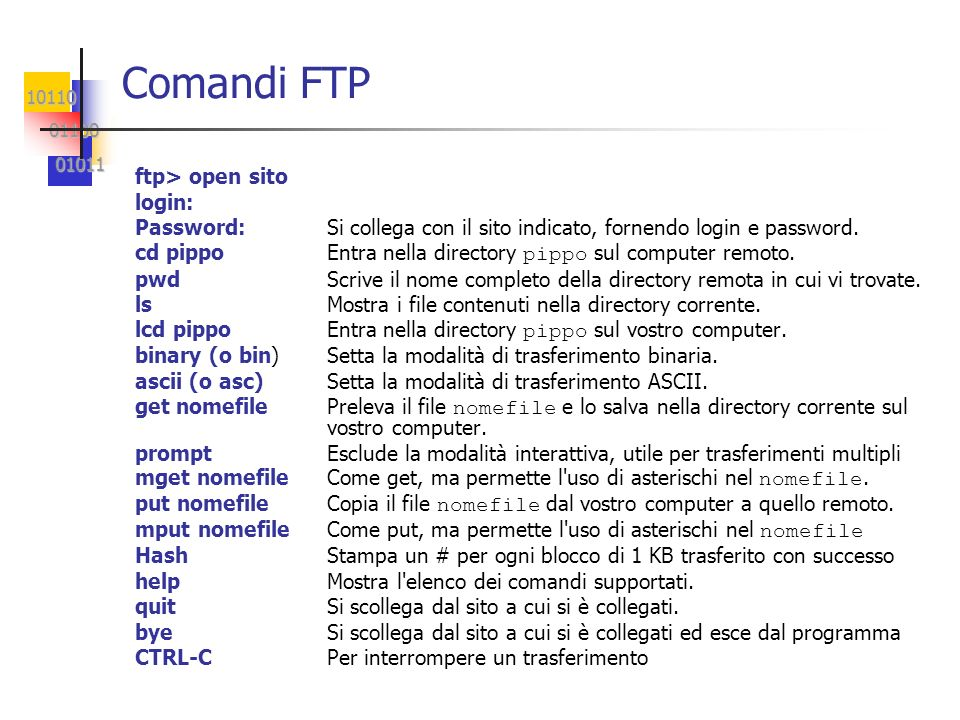 Comandi FTP ftp> open sito login: