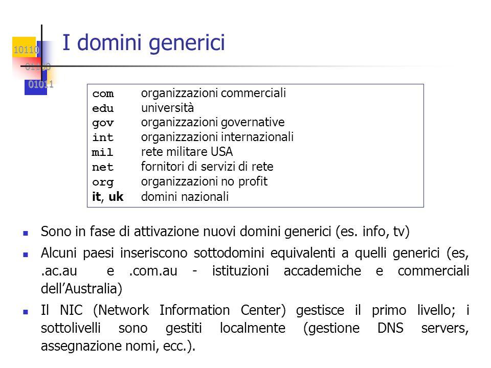 I domini generici com organizzazioni commerciali. edu università. gov organizzazioni governative.