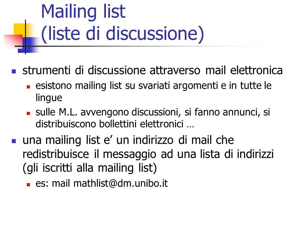 Mailing list (liste di discussione)
