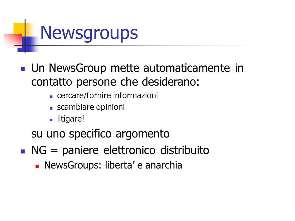 Newsgroups Un NewsGroup mette automaticamente in contatto persone che desiderano: cercare/fornire informazioni.