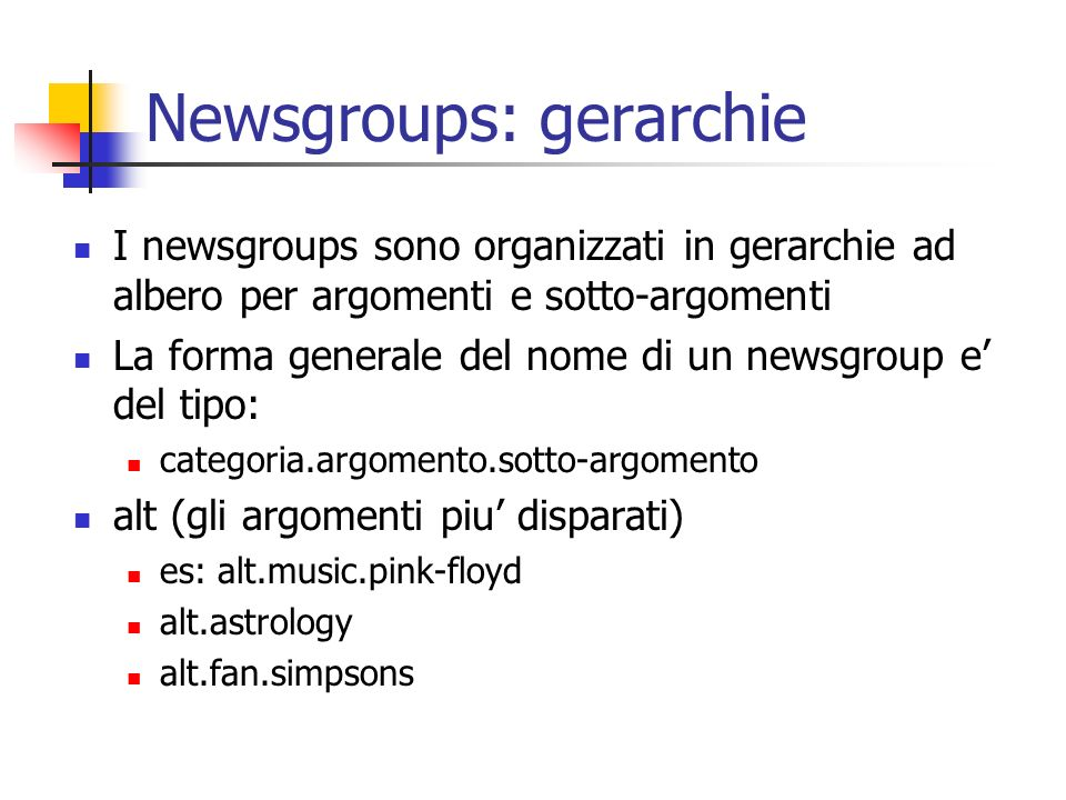 Newsgroups: gerarchie