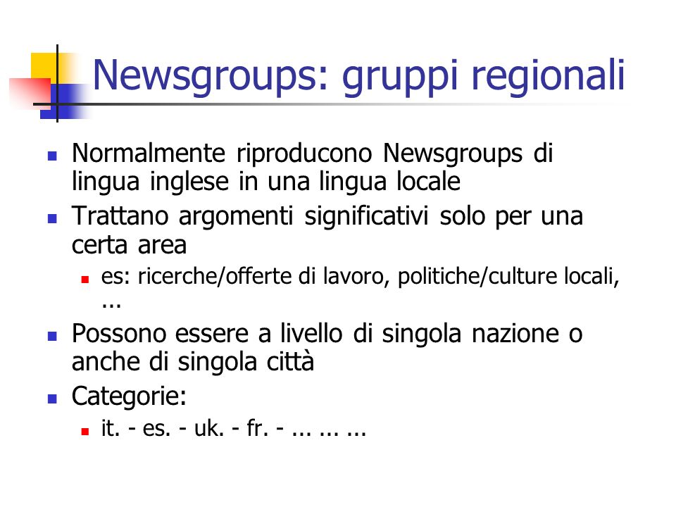 Newsgroups: gruppi regionali