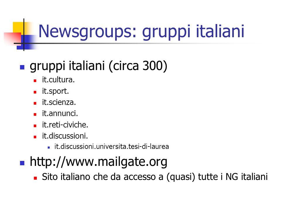 Newsgroups: gruppi italiani