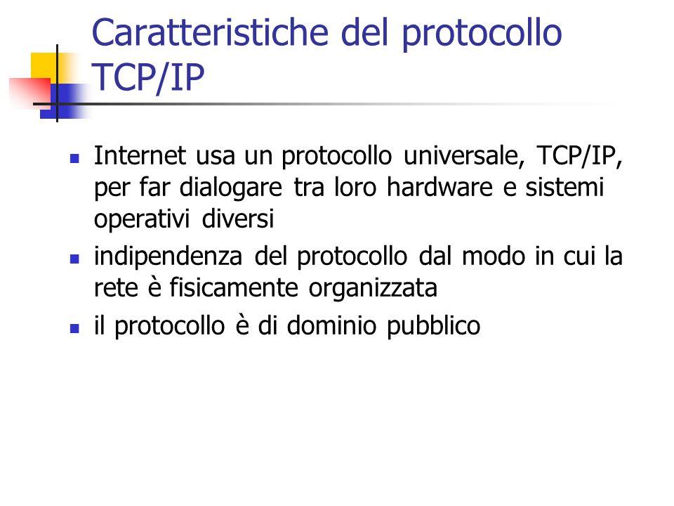 Caratteristiche del protocollo TCP/IP