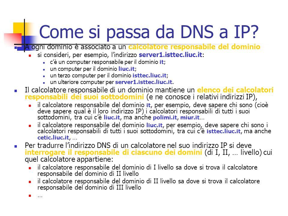 Come si passa da DNS a IP A ogni dominio è associato a un calcolatore responsabile del dominio.