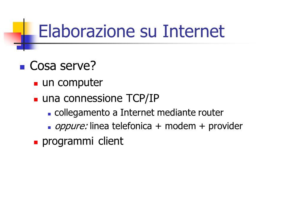 Elaborazione su Internet