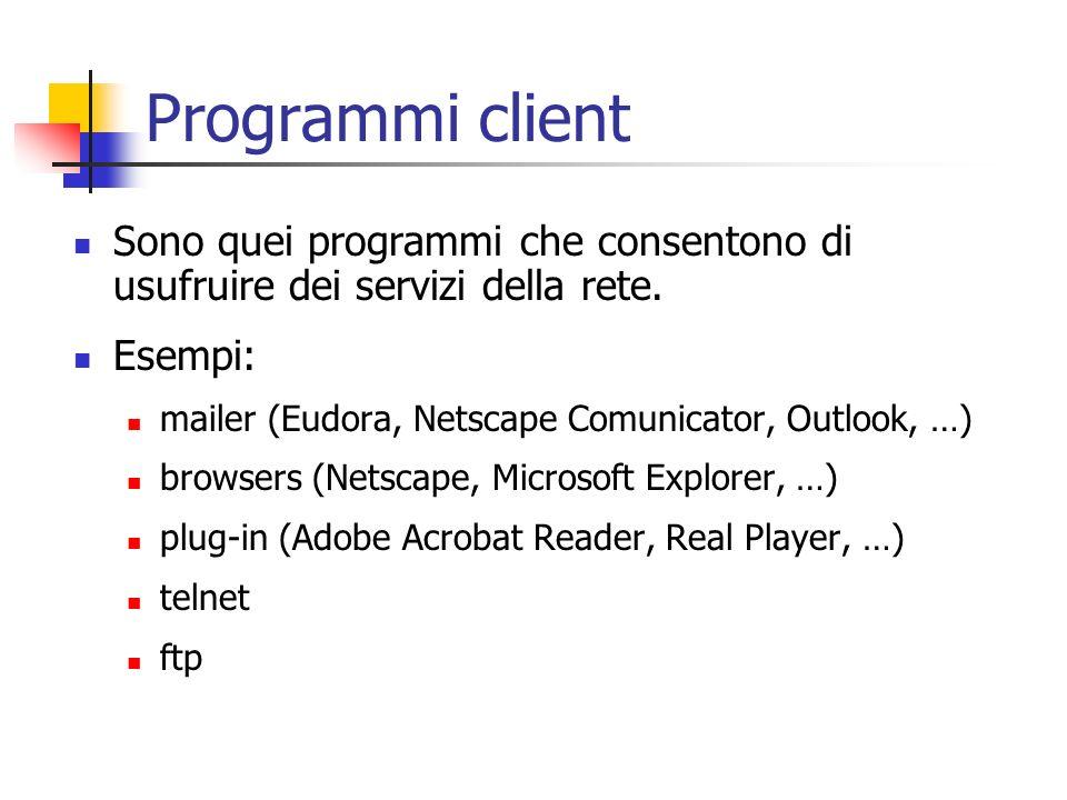 Programmi client Sono quei programmi che consentono di usufruire dei servizi della rete. Esempi: mailer (Eudora, Netscape Comunicator, Outlook, …)