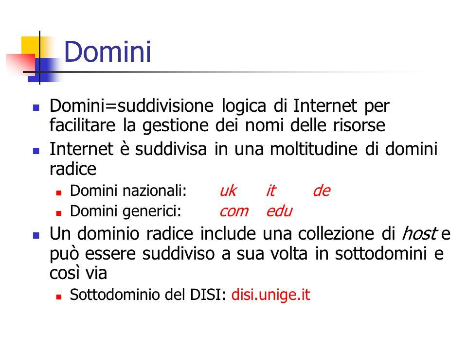 Domini Domini=suddivisione logica di Internet per facilitare la gestione dei nomi delle risorse.
