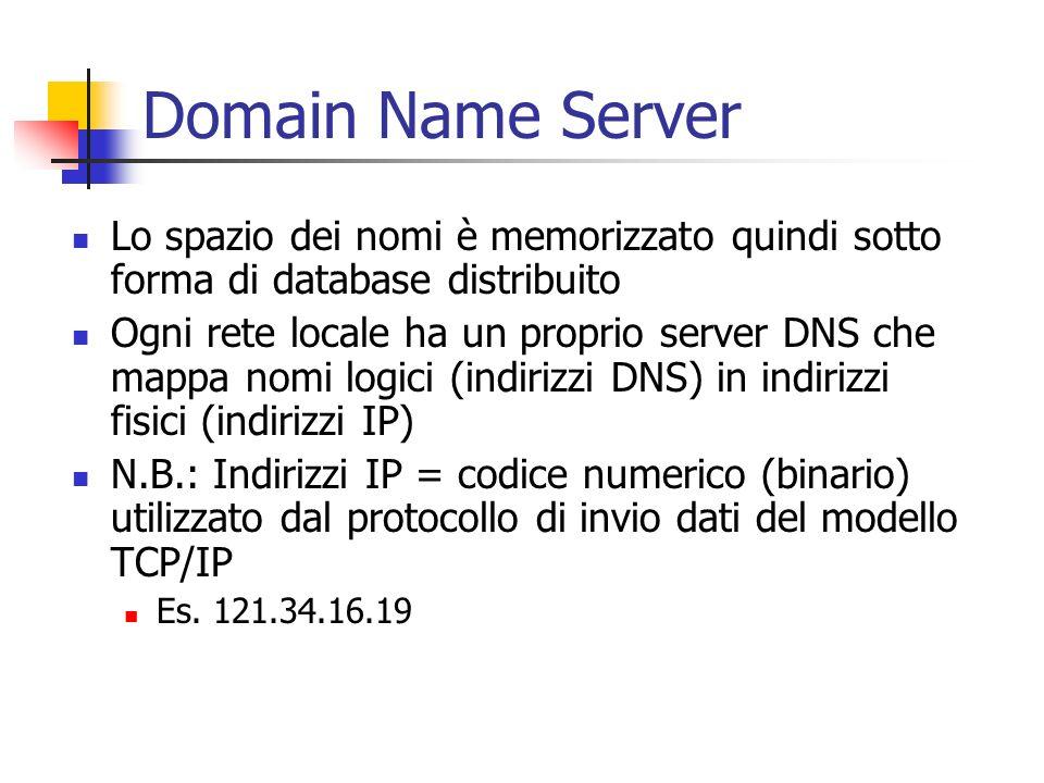 Domain Name Server Lo spazio dei nomi è memorizzato quindi sotto forma di database distribuito.