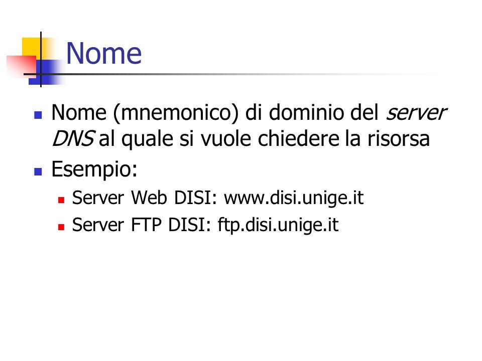Nome Nome (mnemonico) di dominio del server DNS al quale si vuole chiedere la risorsa. Esempio: Server Web DISI: www.disi.unige.it.