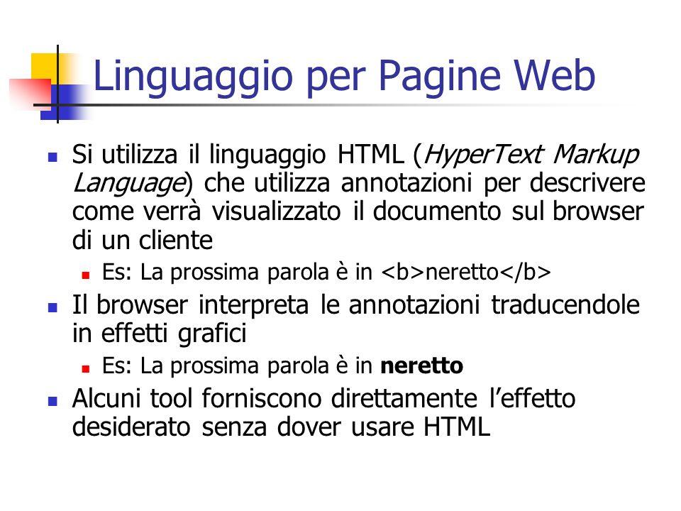Linguaggio per Pagine Web